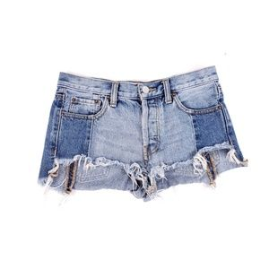 We The Free Tonal Blue Button Fly Frayed Shorts
